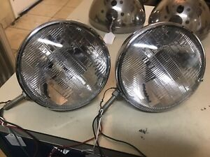 Pair Ford Model A Chrome Hot Rod 7 Headlights With Philips Sun Beam Lights