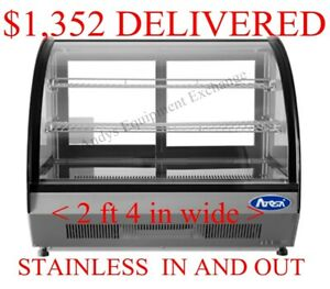 Refrigerated Countertop Display Case Merchandiser Cooler Curved Glass Stainless