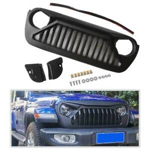 Matte Black Front Bumper Grille Grill Abs W Mesh For Jeep Wrangler Jl 2018 2019
