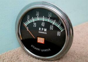 Vintage Sw Greenline Tach 8 000 Rpm Stewart Warner Tachometer Hot Rod Muscle Car