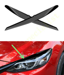 Black Headlight Eyebrows Eyelids Protect Cover Trim For Mazda 3 Axela 2017 2018