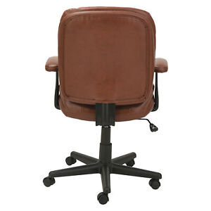 Oif Swivel tilt Leather Task Chair Supports Up To 250 Lbs Chestnut Brown Seat