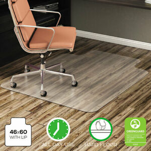 Economat All Day Use Chair Mat For Hard Floors Lip 46 X 60 Low Pile Clear