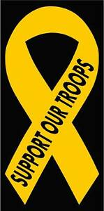 Support Our Troops Yellow Ribbon Vinyl Decal Sticker 8 H