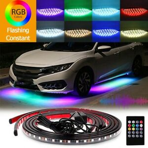 8 Color Rgb 48led Strip Under Car Tube Underglow Underbody System Neon Light Kit