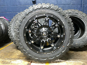 20x10 Fuel Hostage 33 Mt Black Wheels Rims Tires Package 5x150 Toyota Tundra
