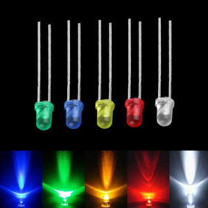 3mm White Green Red Blue Yellow Led Light Bulb Emitting Diode Lamps 100pcs
