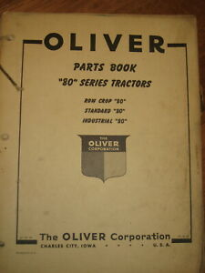 Oliver 80 Tractor Parts Manual Book Catalog