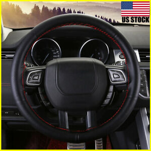 Black Red Pu Leather Diy Car Steering Wheel Cover 38cm W Needles And Thread Us