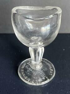 Antique John Bull 1917 Clear Glass Eye Cup Wash Chemistry Lab Vtg Authentic Pat
