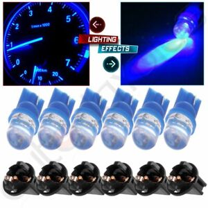 6x Blue Diode Led T10 168 Instrument Speedometer Dash Cluster Light Bulb sockets