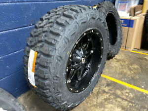 20x10 Fuel Hostage 35 Mt Black Wheels Rims Tire Package 5x4 5 Jeep Wrangler Tj