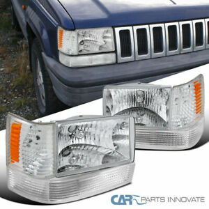 For 93 96 Jeep Grand Cherokee Clear Lens Headlights Bumper Corner Lamps Pair