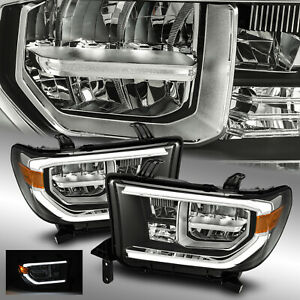 Fit 2007 2013 Toyota Tundra Full Led Sequoia Black Headlights Pair W Led Drl