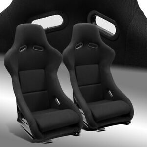 2 X Fixed Pole Position Black Fabric Left Right Fiberglass Racing Bucket Seats