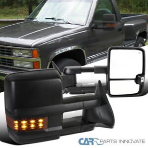 For 88 00 Chevy C K 1500 2500 3500 Tahoe Power Heat Tow Side Mirrors Led Signal