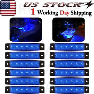 12 Pcs Marine Boat Led Deck Courtesy Lights Waterproof Blue Stern Transom Light