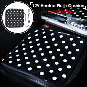 12v Car Seat Heated Cover Plush Cushion Heating Thermal Warmer Pad Winter