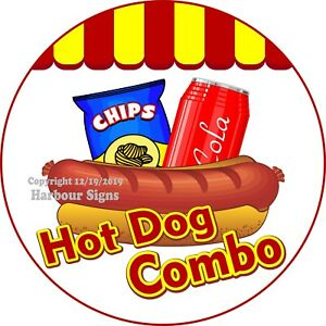 Hot Dog Combo Decal choose Your Size Concession Food Truck Circle Sticker