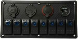 Novelbee 8 Gang On off Toggle Switch Panel With Digital Voltage Charger Socket