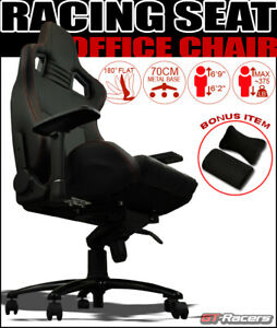 Mu Racing Office Home Game Sport Chair Pvc Leather Bucket Seat Black Stitches