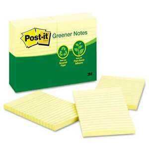 Post it Greener Notes Recycled Note Pads 4 X 6 Lined Canary Y 051141255767