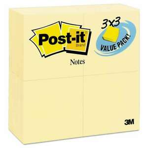 Post it Notes Original Pads In Canary Yellow 3 X 3 90 sheet 2 021200474996