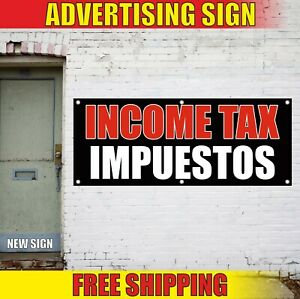 Income Tax Impuestos Banner Advertising Vinyl Sign Flag Spanish Service Payroll