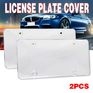 2x Clear Flat License Plate Cover Bug Shield Plastic Tag Protector Stone Banks
