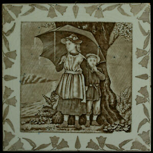 Transfer Printed Victorian Month Tile Wedgwood Helen J A Miles C1877 April 8