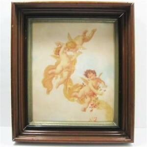 Old Shadow Box Walnut Wood Frame With 3 Cherubs Print Wood Backing
