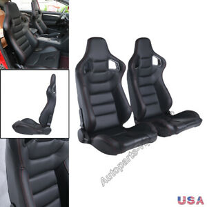 Universal 2pcs Black Car Racing Seats Pu Leather Recline Seats W 2 Sliders