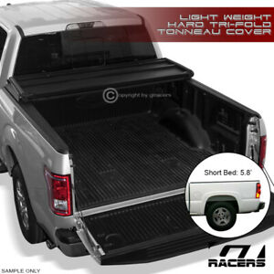 For 2004 2007 Silverado sierra Crew 5 8 Short Bed Tri fold Hard Tonneau Cover Lw