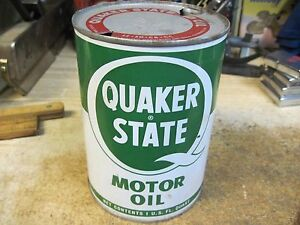 QUAKER STATE MOTOR OIL 1 quart can tin METAL GAS SERVICE station ORIGINAL 1960'S