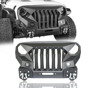 Mad Max Grill bumper W led Light built in Winch Plate For Jeep Wrangler Jk 07 18
