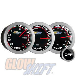 Glowshift 52mm Tinted 30psi Boost vac 100psi Oil Pressure Air fuel Gauge Set