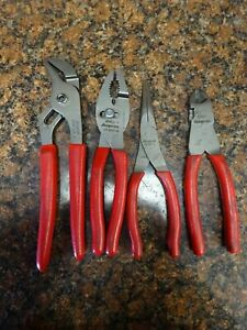 Snap On 4 Pc Pliers Set Slip Joint Diagonal Cutter Needle Nose Channel Lock A8