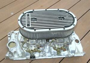 Edelbrock Elite Dual Quad Air Cleaner 4235 Polished Finned Aluminum 2x4 Carb Wow