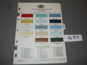 1954 Plymouth Paint Chips By R M Rinshed Mason 54 Plaza Savoy Belved