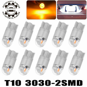 10x T10 3030 Led Amber yellow Dome Map Instrument Bulbs 192 194 Interior Lights