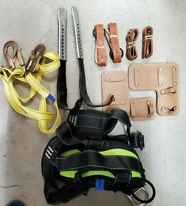 Tree Climbing Spike Set Pole Spurs Adjustable Pro Harness Lanyard Sby0120 Used