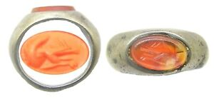 2nd Century Ad Ancient Roman Silver Carnelian Intaglio Ring Of A Red Squirrel