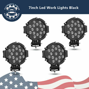 4pcs 7inch 51w Round Led Work Lights Spot Offroad Boat Atv Suv Truck Lamp Black