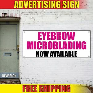 Eyebrow Microblading Banner Advertising Vinyl Sign Flag Salon Open Now Available