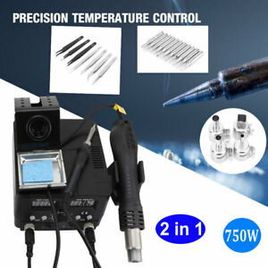 2in1 Smd Soldering Iron Hot Air Rework Station Desoldering Repair W 4nozzle 110v