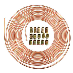 25ft Roll Coil Copper Nickel Brake Line Tubing 3 16 Od 15pcs Fittings Nuts Us