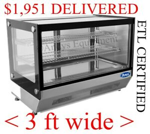 Square Glass Refrigerated Counter Top Display Case Merchandiser Cooler Stainless