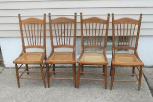 Very Rare Set 4 Antique Childrens Oak Dining School Chairs Cane Seats School