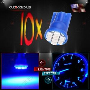 10x Blue T10 W5w 194 168 2825 Led Instrument Panel Cluster Light Lamp For Honda