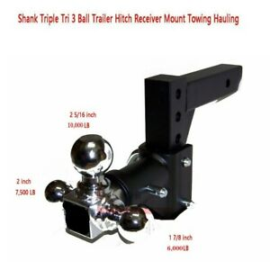 3 Ball Adjustable Drop turn Trailer Tow 2 Hitch Mount Towing Truck Solid